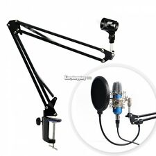 Black Microphone Broadcast Studio Suspension Boom Scissor Arm Holder Mic Stand E