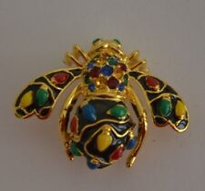 JOAN RIVERS HOLIDAY LIGHTS CHRISTMAS BEE PIN BROOCH - BLACK- MINT CONDITION