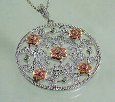 "STERLING SILVER 925 OPENWORK FLOWER PENDANT NECKLACE W/ ROSE GOLD ~ 18"" CHAIN"