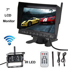 "Wireless Car Rear View Kit 7"" LCD Monitor + IR LED Reversing Camera DVR Recorder"