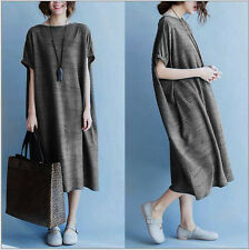 Casual Loose Fit Maxi Cotton Short Sleeve Women's Long Dress Blouse Gray