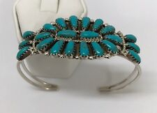 Native American Sterling Silver Navajo Turquoise Cluster Cuff Bracelet