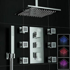 Luxury Square LED Head Thermostatic With Massage Jets  Shower Set Faucet  tghrty