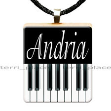 Piano Keys Custom Name Scrabble Tile Pendant Recycled Art Jewelry Personalized A