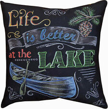 """THROW PILLOWS  - """"LIFE IS BETTER AT THE LAKE"""" PILLOW - 18"""" SQUARE"""