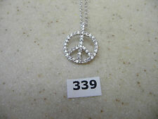 #339# Sterling Silver Shaped Peace Sign Pendant Round CZ Gem Stones & Necklace
