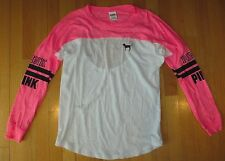 WOMENS PINK VICTORIA SECRET OPEN BACK LONG SLEEVE COVER UP JERSEY TOP SHIRT XS