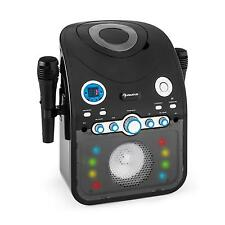 KARAOKE SYSTEM MUSIK ANLAGE PARTY KINDER BLUETOOTH AUX LED LICHTEFFEKT SCHWARZ