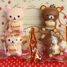 1 pc New BROWN RILAKKUMA HOLDING HAMBURGER squishy cell phone charm SO CUTE