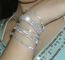 5pc Set 18K GP New Women Jewelry Punk Style Charm Cuff Bangle Crystal Bracelet