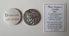 f 1x Drinks well with others WINE ANYTIME Pocket Token Charm ganz party favor