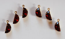 VINTAGE HALF MOON RHINESTONE PENDANT BEADS RUBY RED DOLL BEADS 6 COUNT 10x5mm