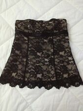 Womens Express Dressy Formal Holiday Party Black Lace Overlay Strapless Top 0