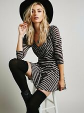 $128 Free People Eggplant Combo Striped Knit Maverick Dress M 8 10 NWT F428