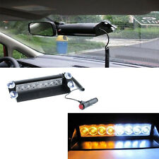 8 LED Car Truck Dash Strobe Flash Light Emergency Warning 3 Modes Amber & White