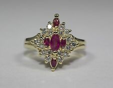 14k Yellow Gold Marquise Red Ruby and White Round Diamond Ring Size 6.75