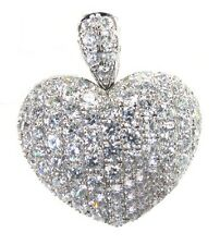 1.30 CT REAL ROUND DIAMOND DESIGNER HEART PENDANT IN 18K WHITE GOLD HALLMARKED