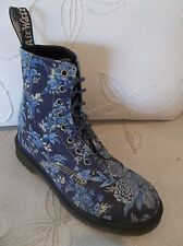 DR DOC MARTENS BECKETT BLUE JOUY FLORAL CANVAS 8 EYE 1460 ANKLE BOOTS US 8