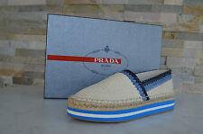 PRADA Talla 38,5 Zapatillas Mocasines zapatos Zapatos crema azul nuevo