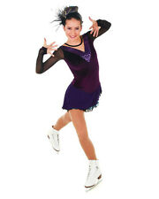 NEW COMPETITION SKATING DRESS Elite Xpression Burgundy Fuschia  1477 CL 10-12