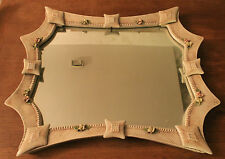 GRand Miroir en Barbotine de roses ancien Mirroir Ceramique