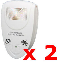 2 x ELECTRONIC UK PLUG-IN ULTRASONIC RODENT PEST FLY REPELLER MICE RAT REPELLENT