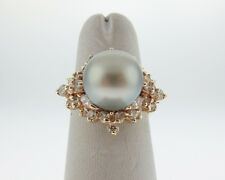 Gray 10.5mm Tahitian Pearl 3/4ct Diamonds Solid 14k Yellow Gold Cocktail Ring