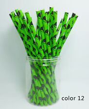 25 pcs Paper Drinking Straws Festival Pattern Drinking Straws For Party color 12