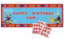 Fireman Sam Happy Birthday Banner to Personalise Party Decoration Bunting Poster