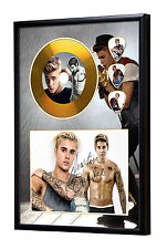 Justin Bieber Gold Vinyl Look CD, Autograph & Plectrum Display