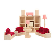 Kids Dolls House Furniture Set Miniature Wooden Family Kids Play living room Toy