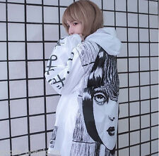 New manga anime windbreaker white jacket women japanese words cool black gothic