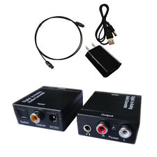 Digital Optical Toslink Coax to Analog L/R RCA Audio Converter Adapter +Cable