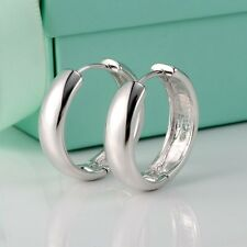 18k White Gold Filled Womens Earrings 21mm Silver Colour Hoop Fashion Jewelry