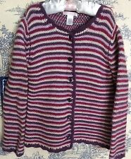 Janie And Jack Cashmere Wool 5T Classic Charm Sweater Cardigan Striped Purple