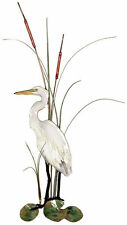 White Heron Egret w/ Cattails Metal Bird Wall Art Decor Sculpture by Bovano W362