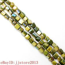 5-7mm Natural Square Shape Green Color Shell MOP Gemstone Loose Beads Strand 15""