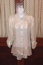 Alice & Olivia Alice + Olivia  Women's Gold Blouse Size Large New With Tags