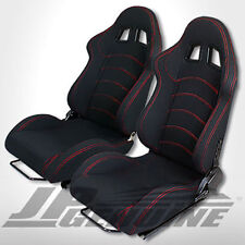 TYPE-1 PAIR OF FULL RECLINABLE RACING SEAT BLACK W/ RED STITCHES - UNIVERSAL