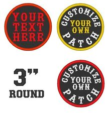 "Custom Embroidered Name Patch Biker Rocker Outlaw MC Tag Badge 3"" Round"
