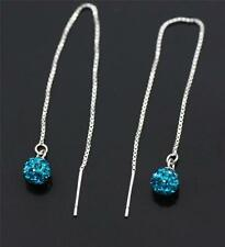 925 Sterling Silver,Teal Cubic Zirconia Ball Pull Through/ Dangle Earrings