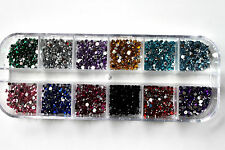 3000 X 12 COLOURS DIAMANTE NAIL ART GEMS IN BOX / UK SELLER
