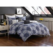 Not Neutral Pom Pom King Duvet King Shams Modern Blue White Botanical Soft