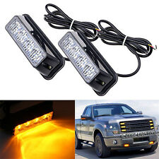 2x 4LED Car Warning Lamp Amber Car Truck Hazard Emergency Flash Strobe Light 12V