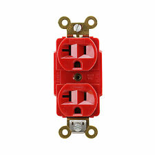 HUBBELL 5362RDB DUPLEX RECEPTACLE SPEC GRADE 2P 3W GROUNDING, RED (10 PACK)
