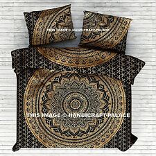 Ombre Mandala Gold Duvet Cover Queen Indian Quilt Cover Cotton Throw Doona Cover