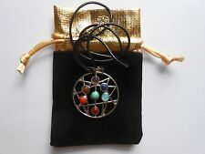 7 CHAKRA CONSTELLATION ASTROLABE PENDANT WITH GEMSTONES+IMITATION LEATHER CORD