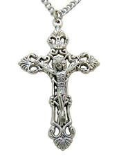 "Catholic Metal Crucifix Pendant 2""L for Confirmation or Communion w/ Chain"
