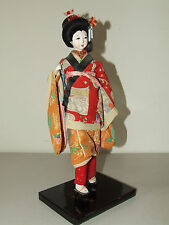 Vintage Beautiful Japanese Gofun Geisha Doll with Glass Eyes and Porcelain Face