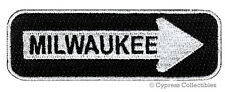 ONE-WAY SIGN PATCH MILWAUKEE WISCONSIN EMBROIDERED iron-on TRAVEL new APPLIQUE